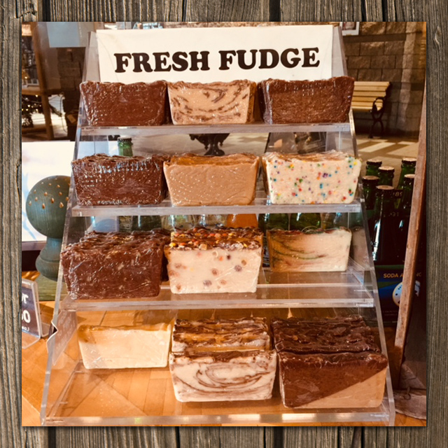 display of fresh fudge
