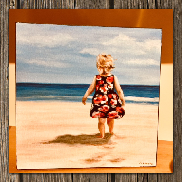 painting of child on beach