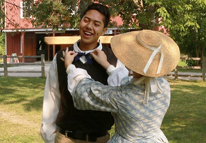 High school student takes part in a costume workshop at Black Creek Pioneer Village