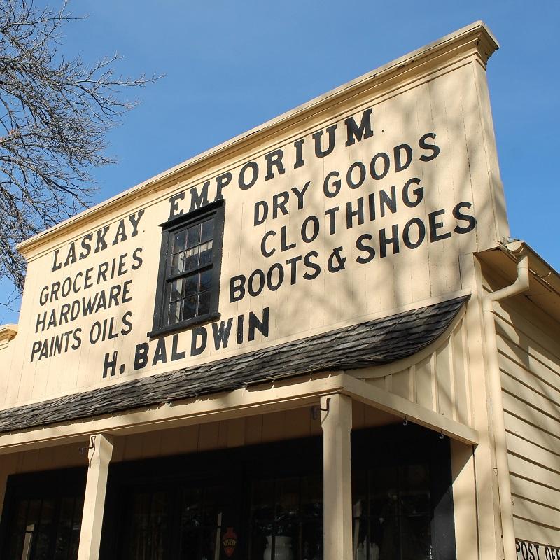 facade of Laskay Emporium at Black Creek Pioneer Village