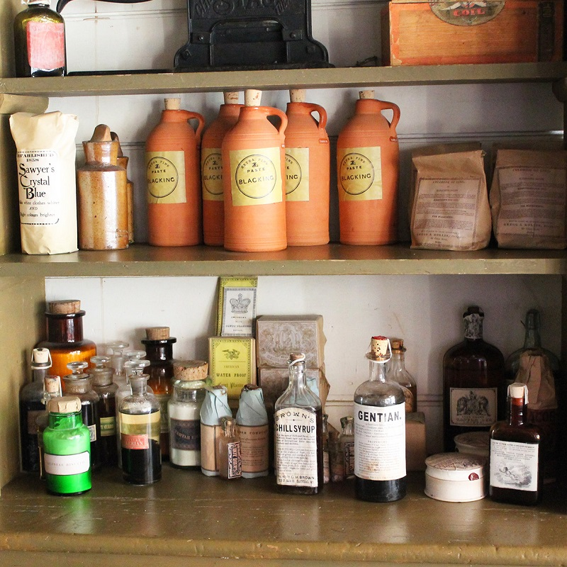 shelves stocked with goods inside Laskay Emporium at Black Creek Pioneer Village