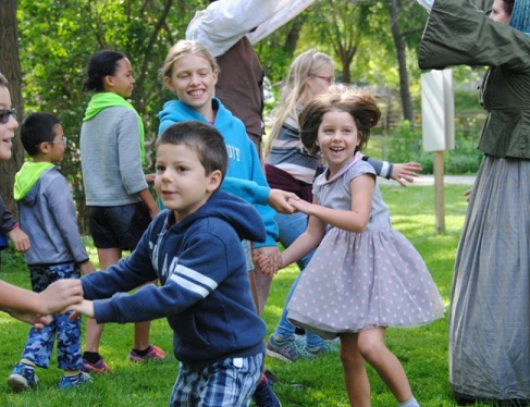 Children learn traditional dance at Black Creek Pioneer Village Guides and Scouts Day
