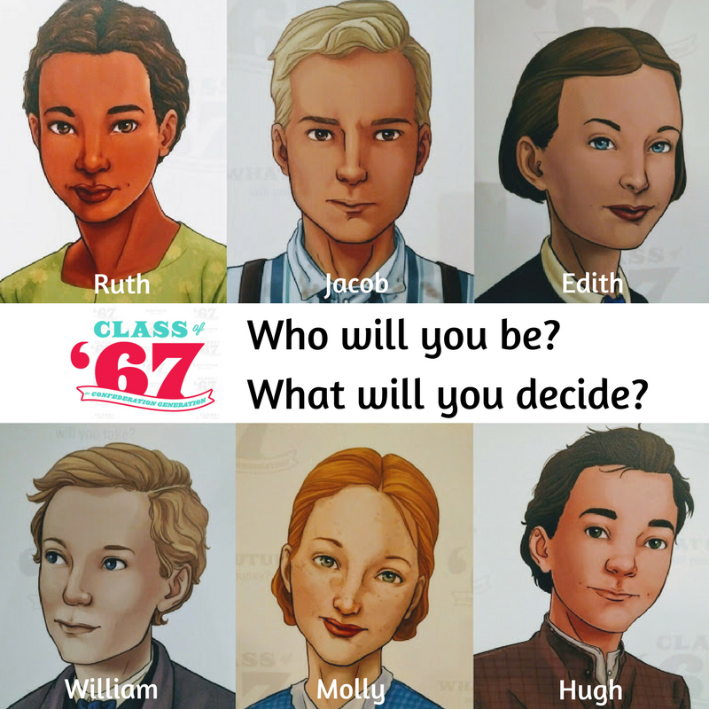 "Class of 67 graphic with pictures of different pioneers, asking ""Who will you be?"""