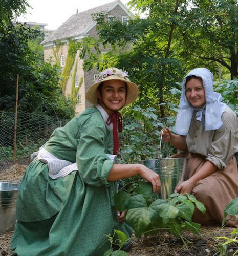 The costumed gardeners in thier garden