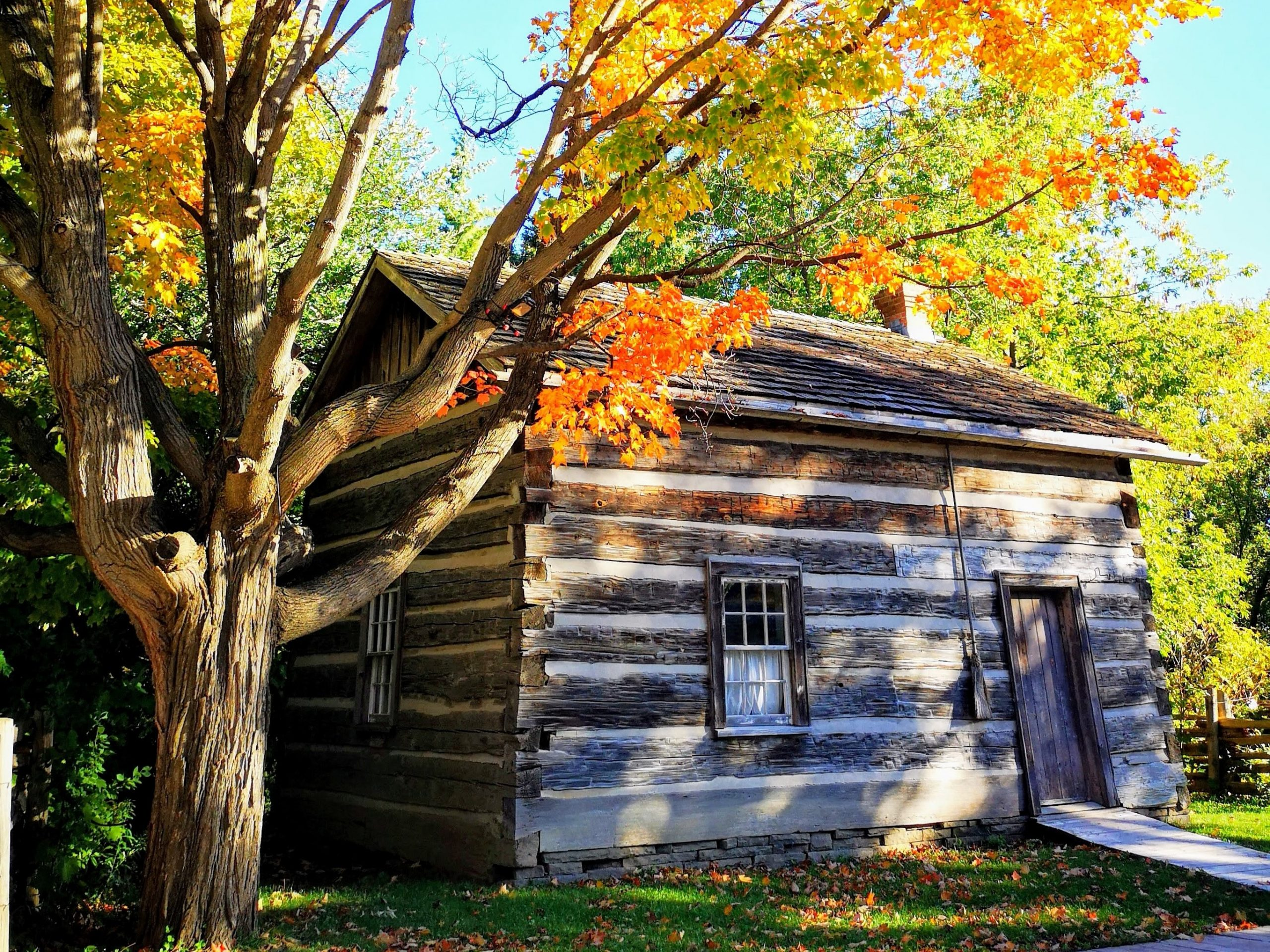 A log cabin during autumn