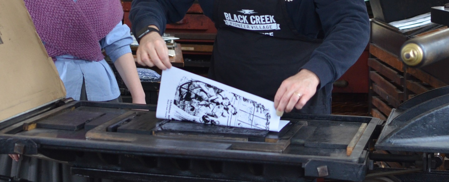 student learns 19th century printing techniques at Black Creek Village