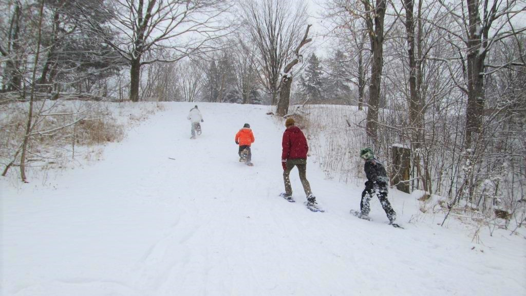 Snowshoeing in the snow