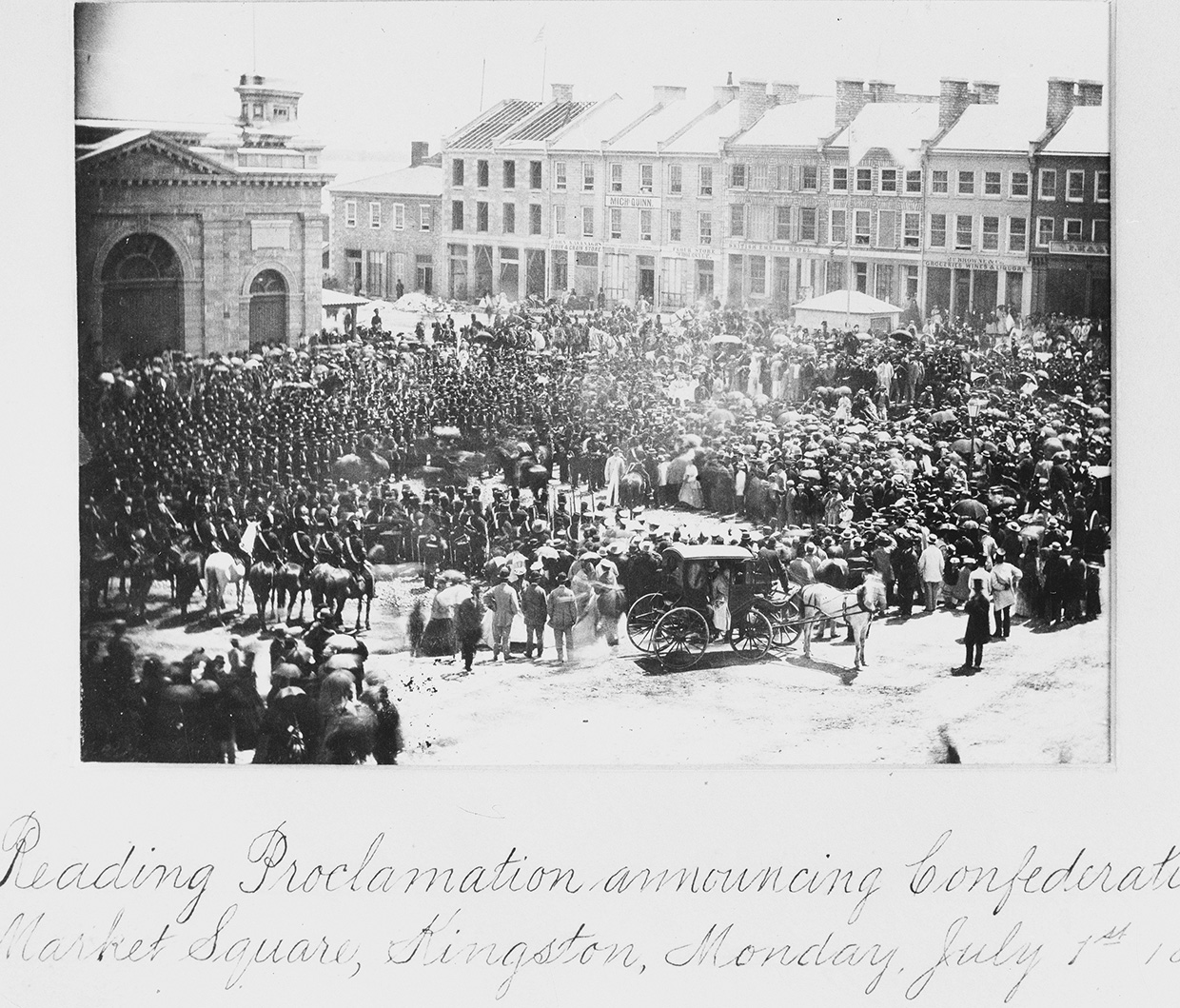 photograph of Confederation proclamation at Queens University in Kingston in 1867