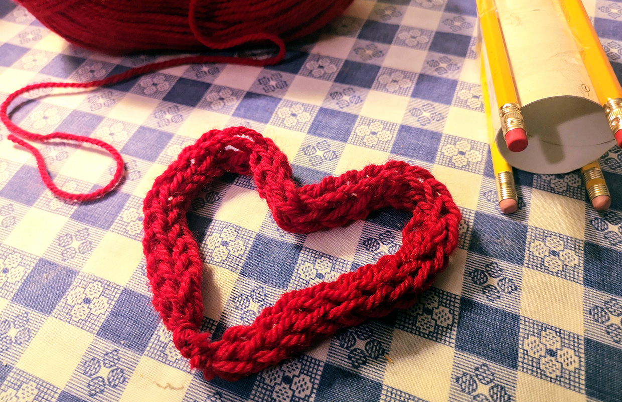 knitted heart made with corking