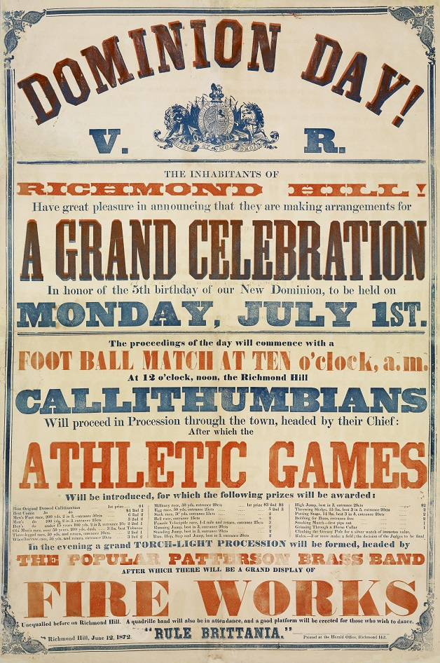 poster for 1872 Dominion Day celebration