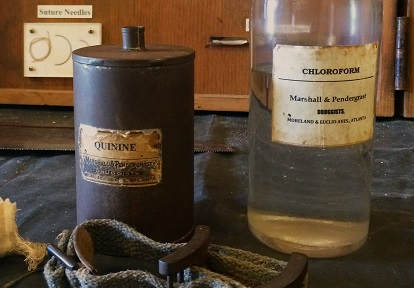 antique bottles of chloroform and quinine