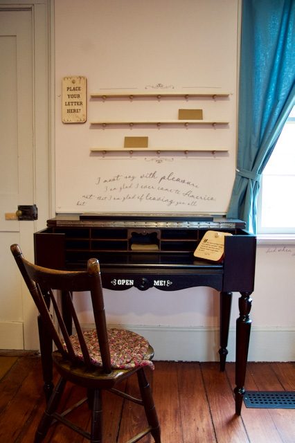 writing desk in parlour of Flynn House activity at Black Creek Pioneer Village