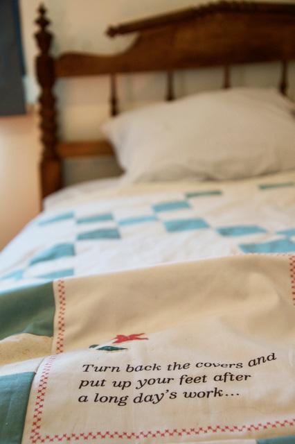 rope bed and bedspread in Flynn House exhibit at Black Creek Pioneer Village