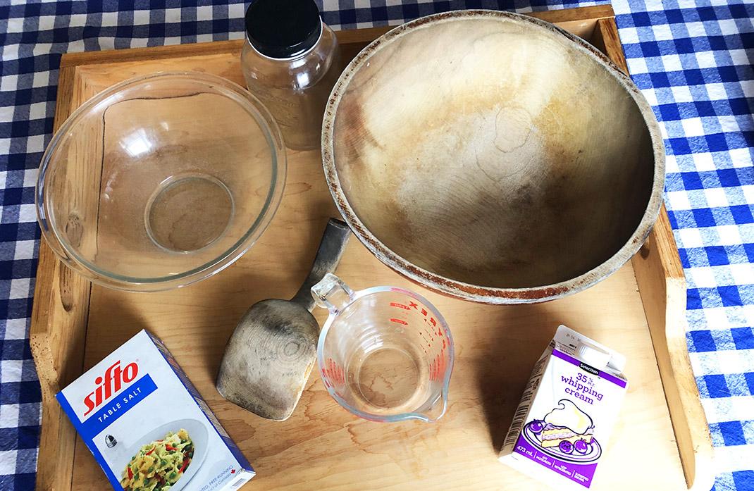 supplies for preparing homemade butter
