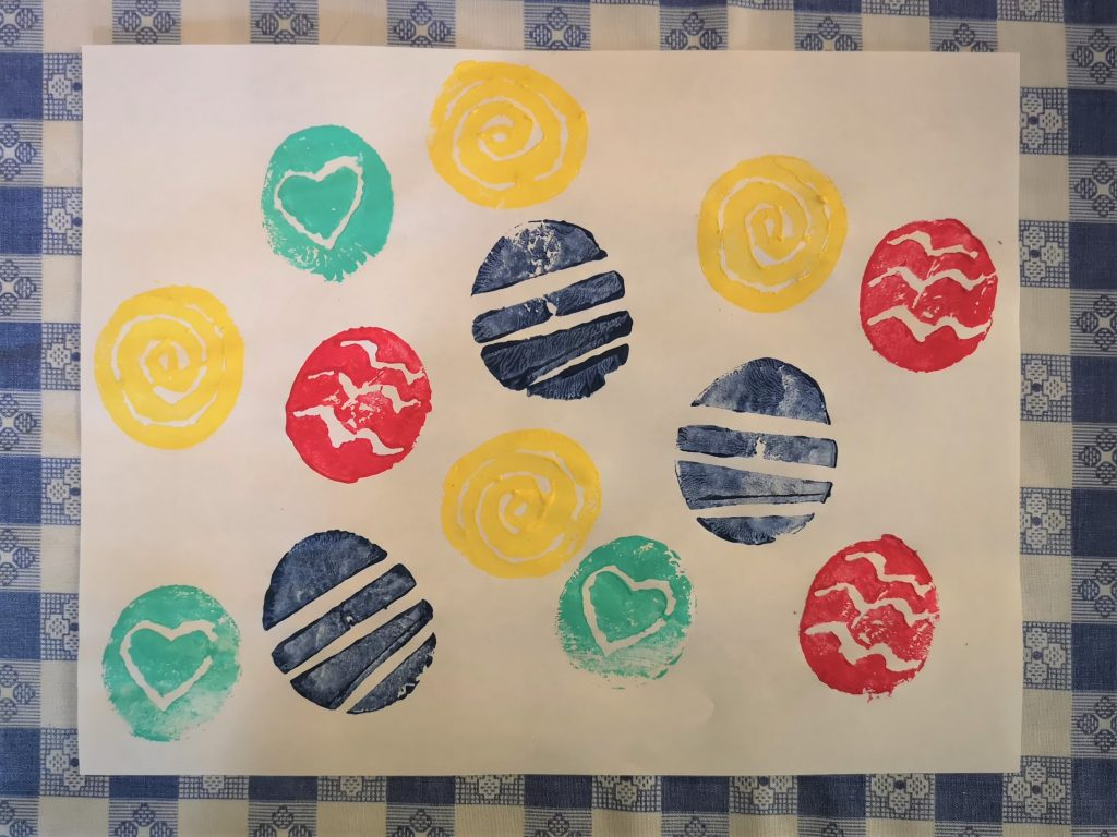 completed potato stamp crafts