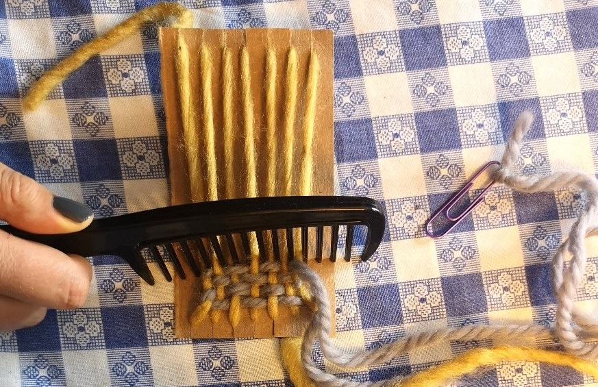 crafter uses a comb as a beater bar