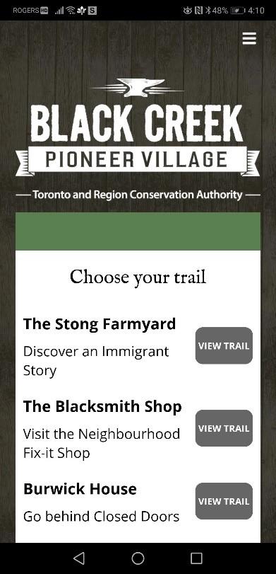 screen capture of Access Black Creek app menu