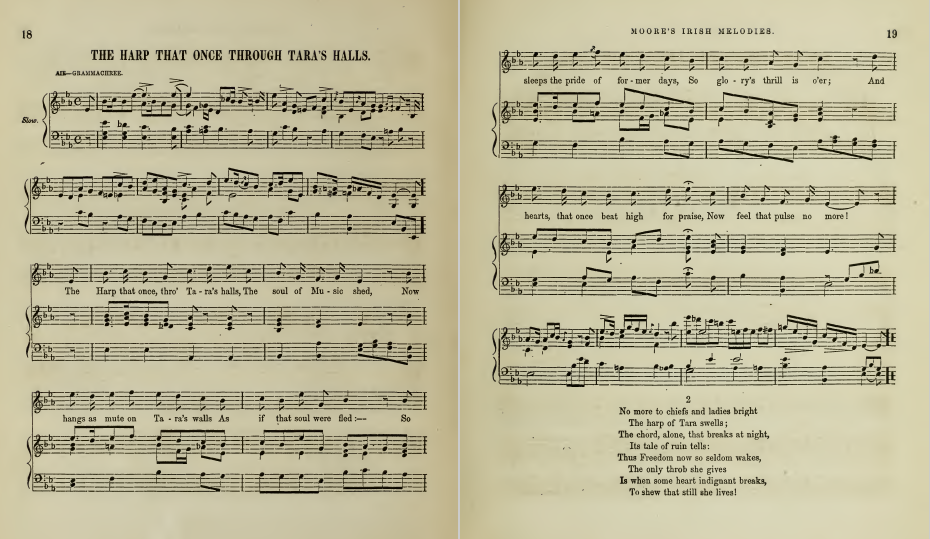 sheet music for The Harp That Once Through Taras Halls