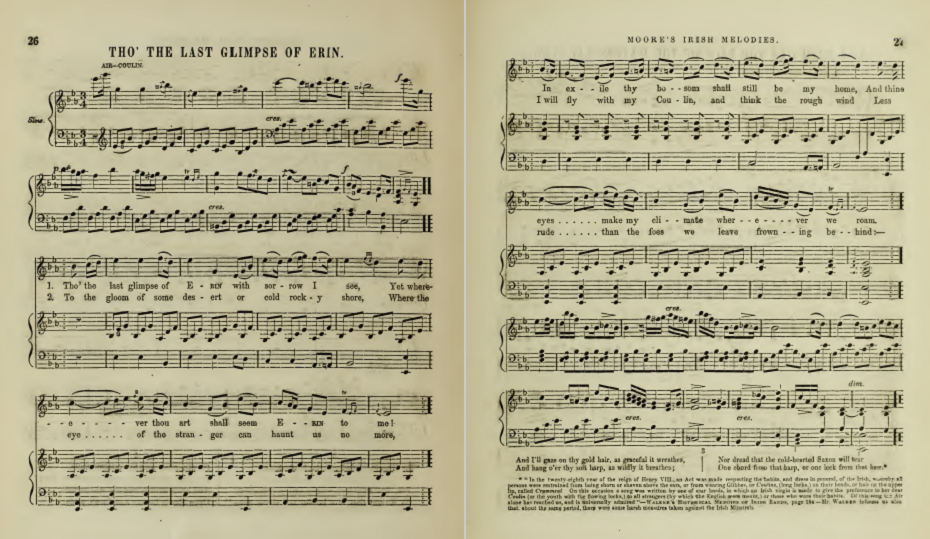 sheet music for Tho The Last Glimpse of Erin
