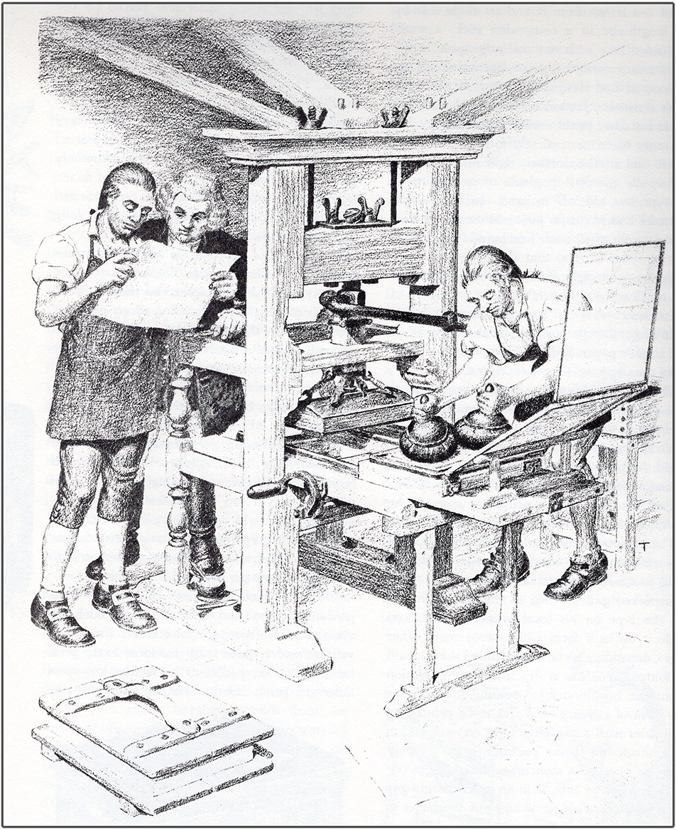 19th century illustration of wooden printing press