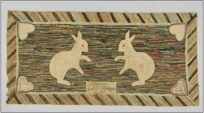 rug hooking example dated 1884