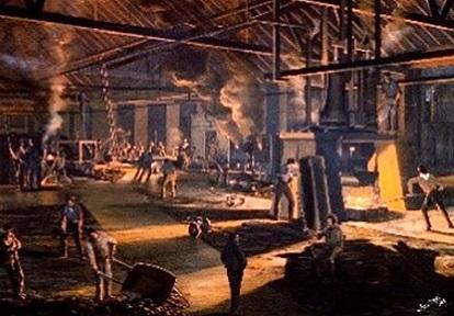 1864 pastel drawing of Toronto Rolling Mills