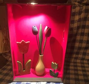 a homemade exhibit display case