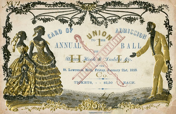 ticket to the Union Hook and Ladder company annual ball in 1859