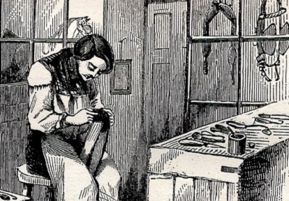19th century illustration of a saddler at work