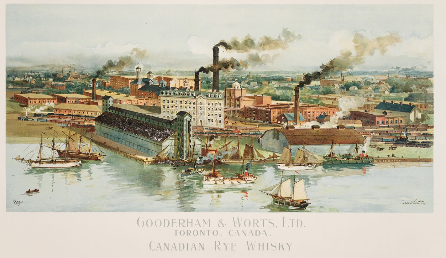 19th century illustration of Gooderham and Worts distillery in Toronto