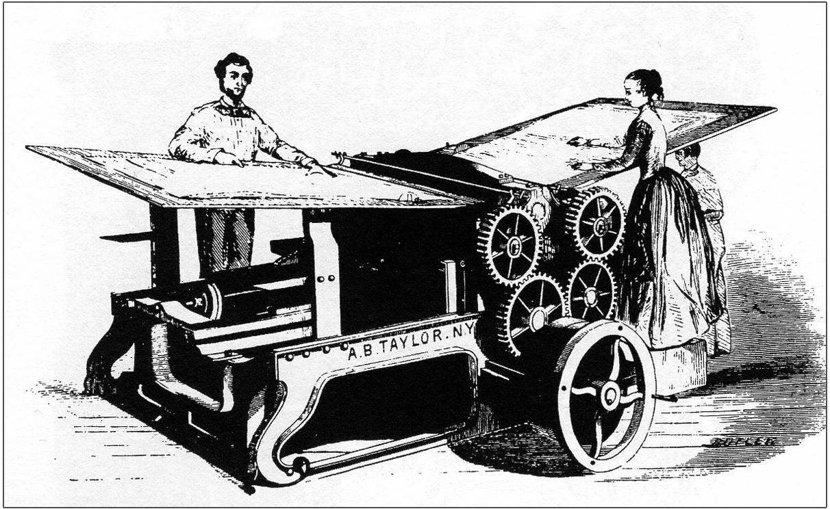 man and woman feeding paper into iron printing press