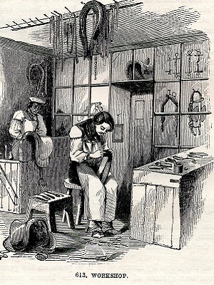 19th century illustration of a saddler at work