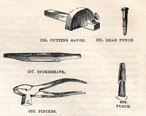19th century illustration of leather working tools
