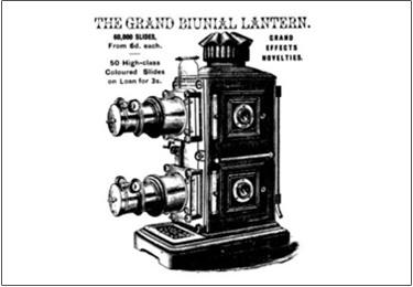 19th century illustration of a magic lantern