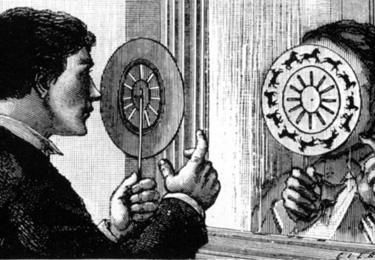 19th century illustration of a phenakistoscope