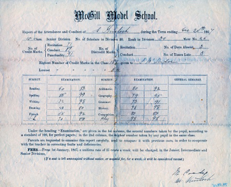 student report card from 1867