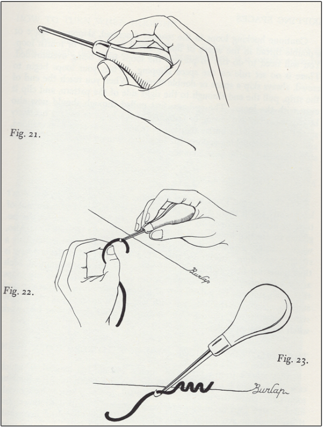 illustration of 19th century rug hooking tools