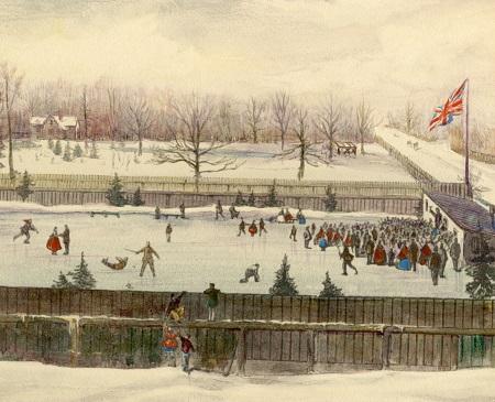 1863 illustration of skating rink in Toronto