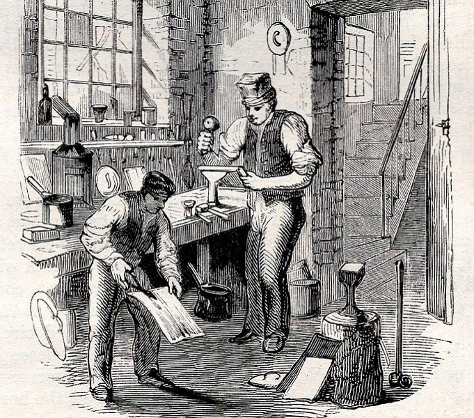 illustration of 19th century tinsmith shop