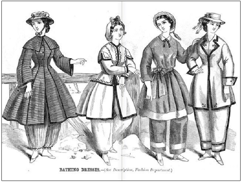 19th century illustration of women wearing bloomers