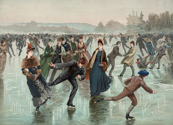 1885 illustration of ice skaters