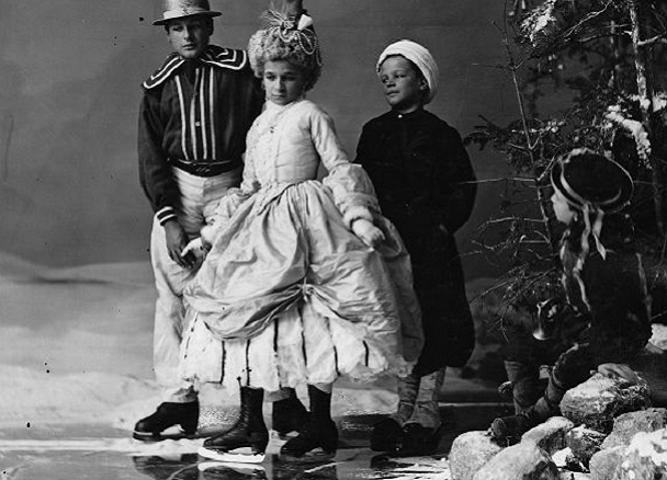 1867 photograph of children in ice skating costumes