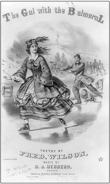 19th century illustration of a young woman wearing a Balmoral