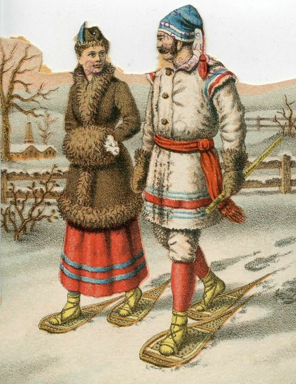 19th century illustration of couple walking in snow shoes