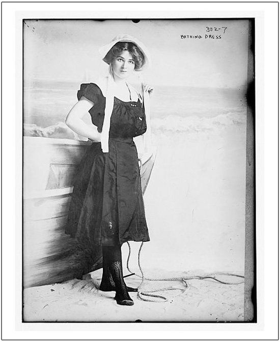 photograph of woman in Victorian bathing dress