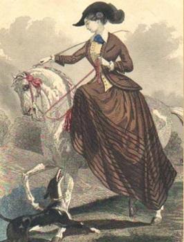 1840s illustration of woman riding sidesaddle