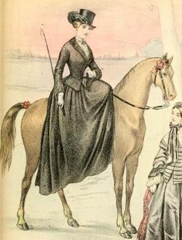 1850s illustration of woman riding sidesaddle