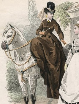 1867 illustration of woman riding sidesaddle
