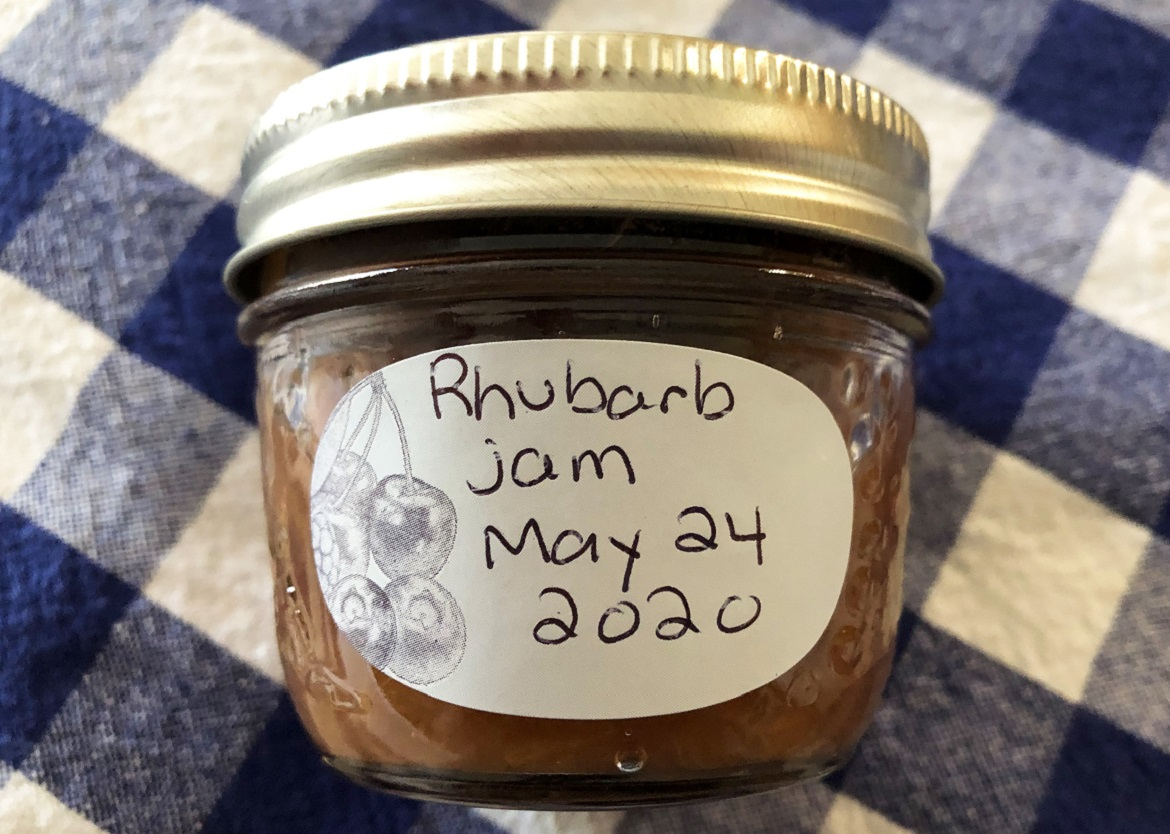 jar of rhubarb jam with hand-written label