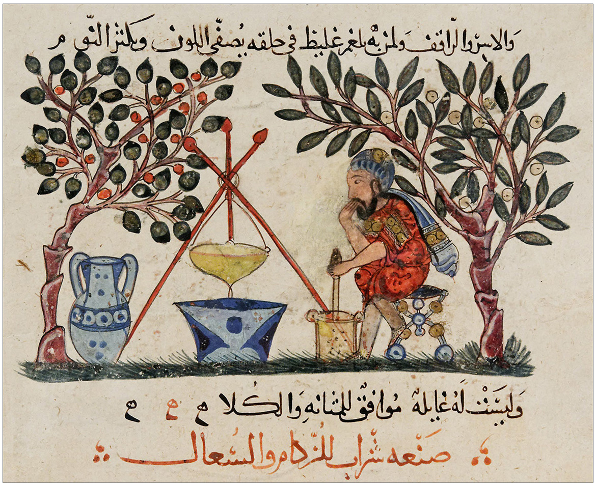 page from a 13th century Arabic edition of the book De Materia Medica
